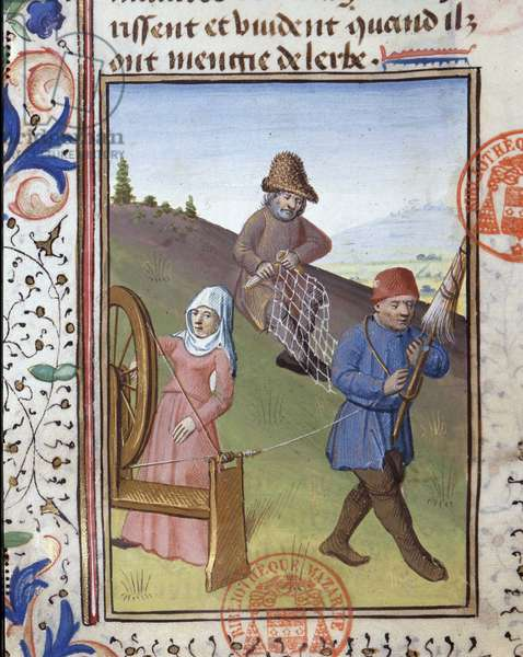 """Preparation of nets for hunting - in """""""" Book of Hunting by Gaston Phoebus, Count of Foix, Lord of Béarn"""""""", 14th century"""