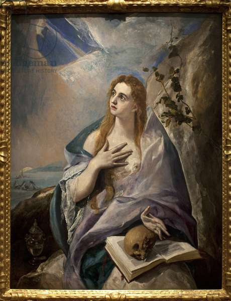 Madeleine penitente. Painting by Domenikos Theotokopoulos dit El Greco (1541-1614), oil on canvas, 1576-1577. Spanish art, 16th century, mannerism. Museum of Fine Arts Budapest (Hungary).