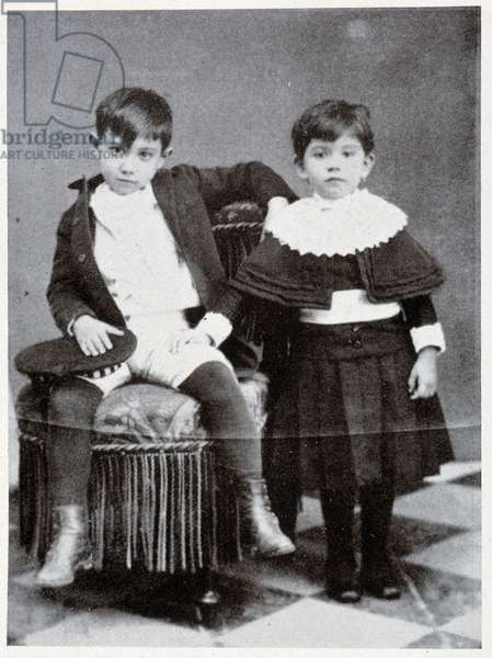 """Pablo Picasso at the age of seven and his sister - in """"Picasso, iconographic documents"""""""" by Sabartes, 1954"""