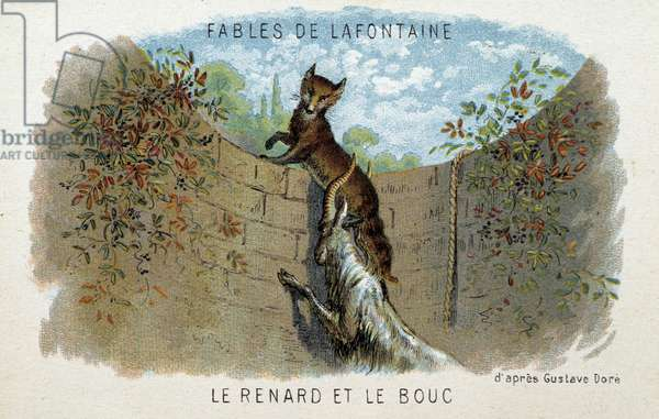 Fables de la Fontaine: The fox and the goat - according to Gustave Doré.