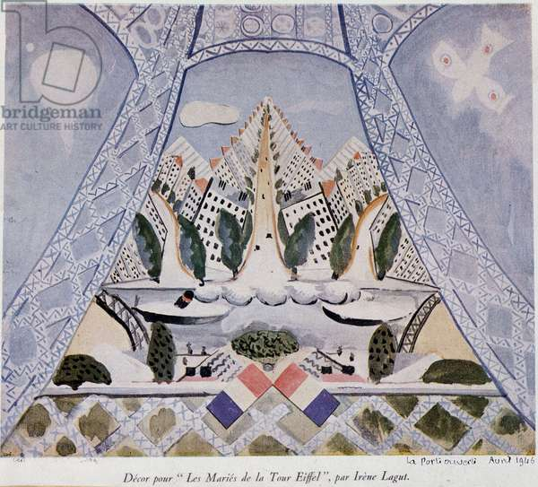 """Decor for """"Les Maries de la Tour Eiffel"""", piece by Cocteau Theatre. Decor realized by Irene Lagut (1893-1994), 1946."""