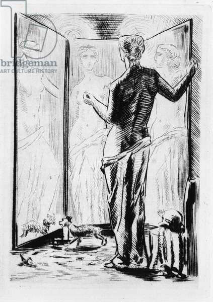 """Alicia Cleny in front of her mirror. Engraving by Raphael Drouart (1894-1972) for """""""" L'Eve future"""""""", 1925, by Jean Marie Mathias Philippe Auguste, count of Villiers de L'Isle Adam (L'Isle-Adam) (1838-1889). Rights reserved"""