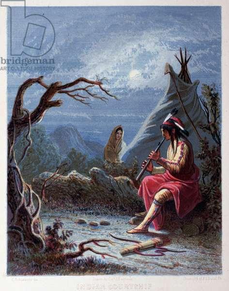 "Indian courtshif - """" The Iris: an illuminated souvenir for 1802"""" drawn by Cast Eastman, ed. John S Hart, 1852, Philadelphia."