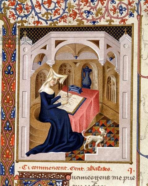 Portrait of Christine de Pisan (or Pizan) writing - Miniature, 15th century.