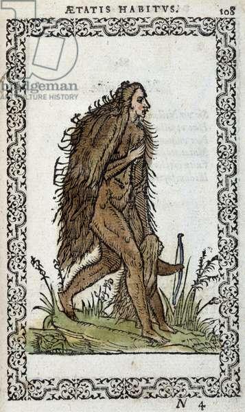 "Wild woman and her child - in """" Habits et effigies"""" by Jean Sluperius, 1572"