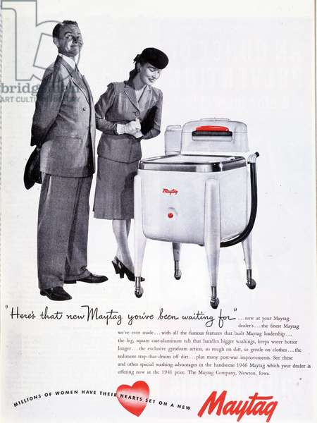 Advertising for the washing machine Maytag, 1944.