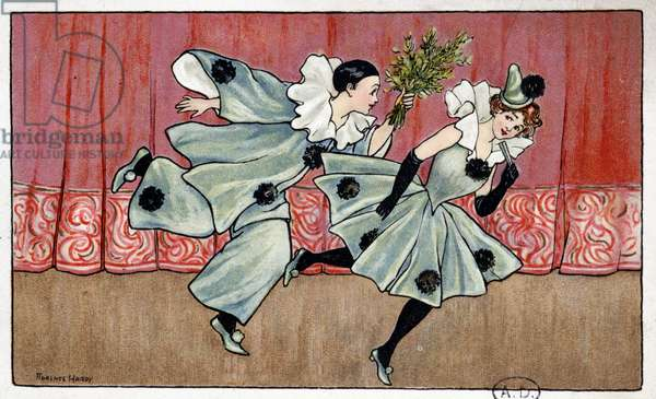 Pierrot running after Colombine - dess. by Florence Hardy, deb. 20th century
