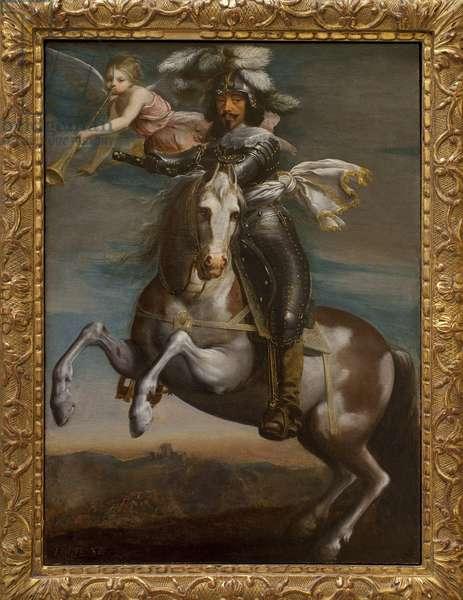 Equestrian portrait of Louis XIII (1601-1643). Painting around 1630. Art francais 17th century. Musee des Beaux Arts de Rouen.
