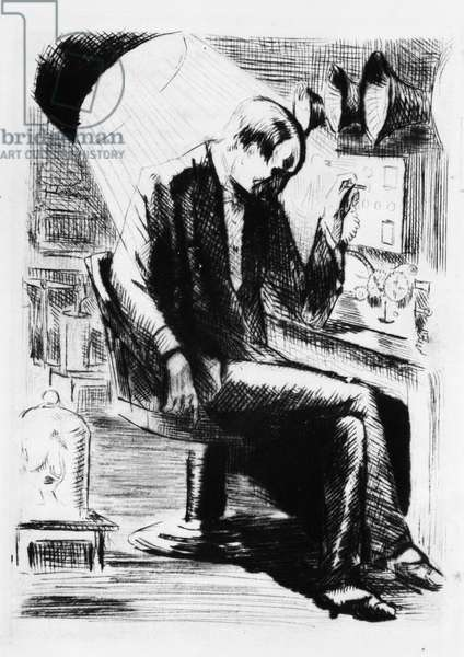 """Edison in his lab. Engraving by Raphael Drouart (1894-1972) for """""""" L'Eve future"""""""", 1925, by Jean Marie Mathias Philippe Auguste, count of Villiers de L'Isle Adam (L'Isle-Adam) (1838-1889). Rights reserved"""