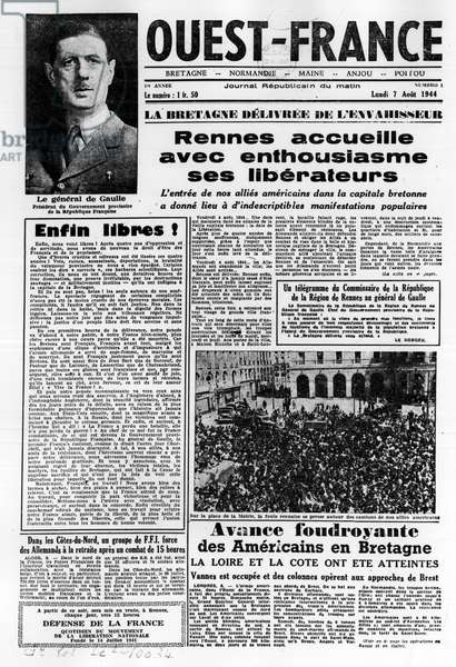 First issue of West France from 7 August 1944: La La La La Liberation dans l'ouest de la france et le general de Gaulle - photographie, B.N.