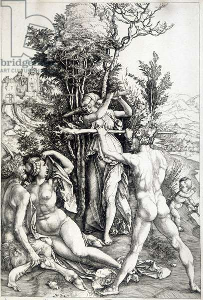 Allegoric figure of jealousy - engraving 16th century