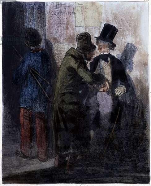 N'a pas gras! - pickpocket by Gavarni, 19th century