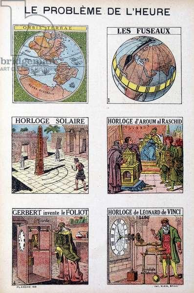 The problem of the time: Orbis Terrea, the spindle, solar clock, clock of Aroum Al Racshid, Gerbert invents the Foliot, clock of Leonardo da Vinci (Leonardo da Vinci) - engraving, deb. 20th century