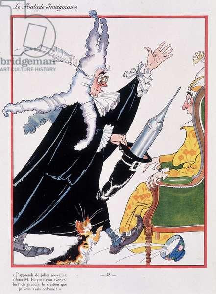 """Administration of the clystère, scene of Molière's """""""" Imaginary Malad"""" - Illustration by Felix Lorioux (1872-1964), Hachette, Paris, 1928."""