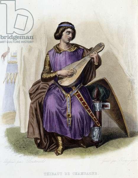 "Thibaut I of Navarre or Thibaut IV of Champagne (1201-1253) - in """" Le Plutarque francais"""", by Mennechet, Paris, 1844-47"