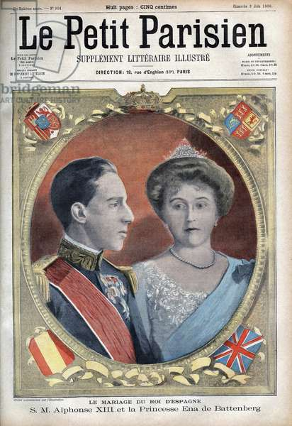 """Portrait of King Alfonso XIII of Spain and Queen Ena of Battenberg (Victory Eugenie of Battenberg). Engraving in """""""" Le Pepetit Parisien"""""""", on the 03/06/1906."""