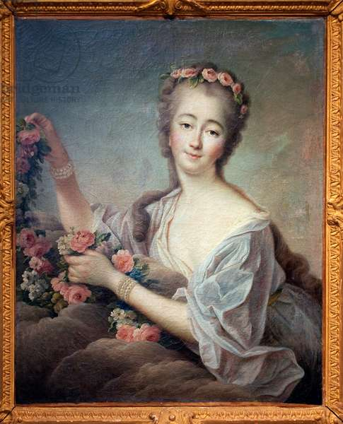 Portrait of Madame du Barry en Flore (Jeanne Becu, Countess (or Madame) of Barry (1743-1793) - Painting by Francois Hubert Drouais (1727-1775), oil on canvas, 1774 - French Art 18th century - Musee des Beaux Arts d'Agen