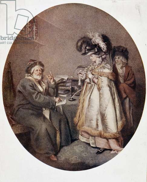 Credulous woman and astrologer, english image, n.d. 18th century