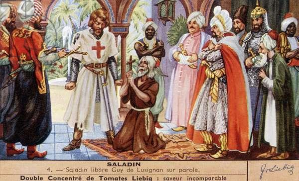 Saladin (1138-1193) (Salah al Din Yusuf al-Ayyubi (al Ayyubi) released Guy de Lusignan on parole. chromo. Liebig, deb. 20th century