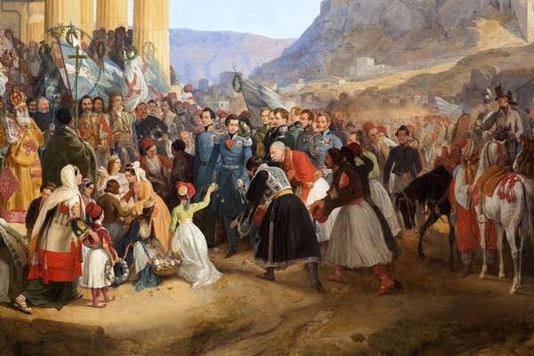 The entrance of King Othon I of Greece (1815-1876) to Athenes, welcomed by the crowd in front of the temple of Hephaistos (Hephaisteion) (Hephaestus) or Theseion on Agora (Greece, 1834) (Detail). Painting by Peter Von Hess (1792-1871), Oil On Canvas, 1839. German Art, 19th century. Neue pinakothek, Munich (Germany).