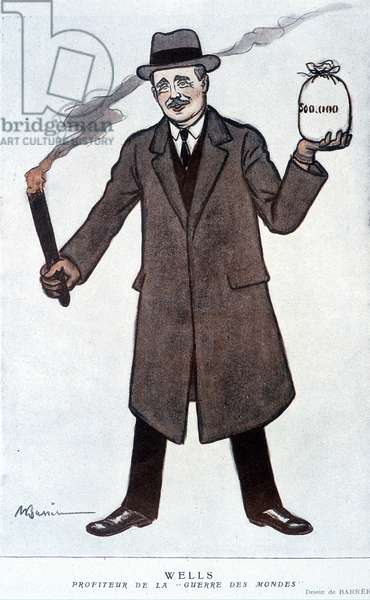 Portrait of Herbert George Wells, English journalist and novelist (1866-1946). In Fantasio on 01/09/1922. Drawing by Barrere.