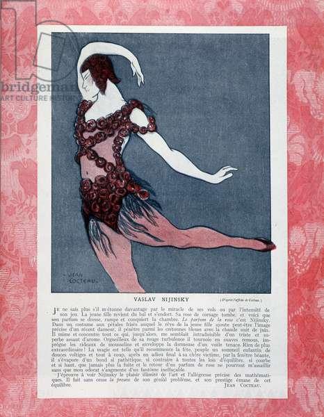 "Vaslav Nijinsky or Nijinsky (1889-1950) dancing, after the poster of Jean Cocteau (1889-1963) for the show """" Spectre de la rose"""" by Ballets Russes, in """" Comoedia illustrious"""""" 15/6/1911."