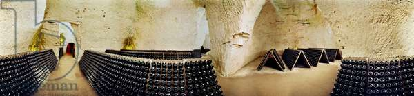 Champagne cellars in Reims. 360 degree panoramic by Leonard de Selva, France, 2004.