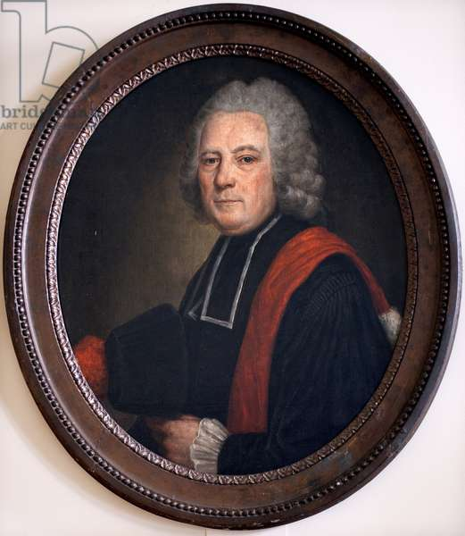 Portrait of Dr. Pierre Bourgeois. Doctor of the Hotel Dieu in Beaune. Anonymous painting, oil on canvas, 18th century. French art. Hospices Civiles de Beaune.