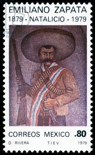 Centenary (1878 - 1978) of the birth of Emiliano Zapata, Mexican revolutionary (1879-1919). Mexican stamp (print)