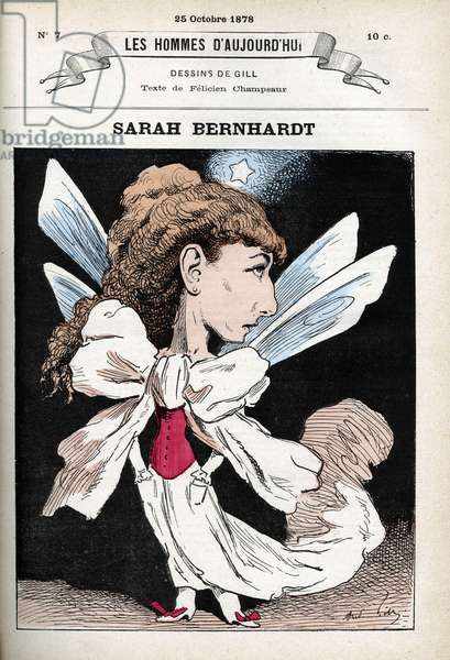 Portrait of Henriette Rosine Bernard dit Sarah Bernhardt (1844-1923), French theatre actress. Cartoon by Gill, Paris.