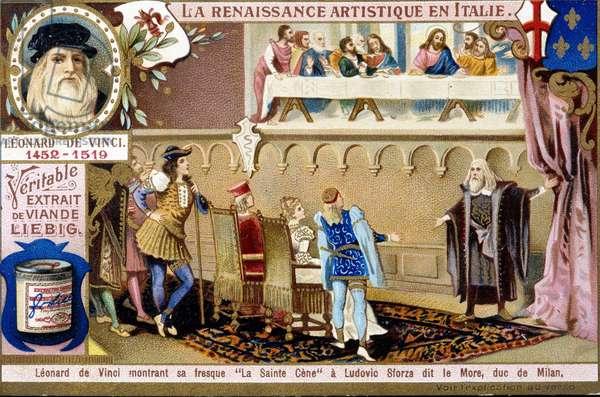 "Leonard de Vinci (1452 - 1519) (Leonardo da Vinci) showing his fresco """" The Holy Cene"""" by Ludovic Sforza dit The More, Duke of Milan - chromo., v.1900"