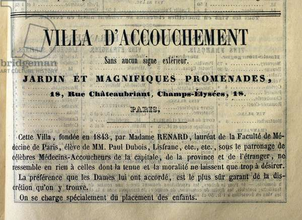 """Called for a villa of childbirth, """""""" without any external sign"""""""" and with the mention """""""" we take special care of the placement of children"""""""", 18 rue de Chateaubriand, Champs-Elysees (Champs Elysees), Paris. advertised in the book """""""" Le cuisinier et le medecin"""", edited by L.M. Lombard, edition L.Curmer, 1855, Paris."""