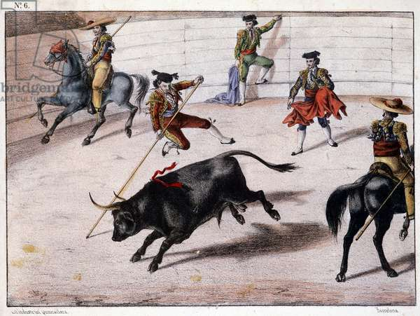 Perch jump, bullfighting in Spain, Spanish lithography, sd. 19th century