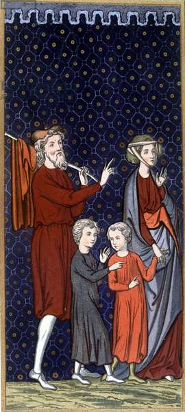 """French family in the 14th century - in """""""" Sumptuary arts of costume and furniture"""""""", ed. Mangard-Maugé, 1858"""