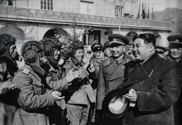 """Kim Il Sung, leader of North Korea, visiting the aviation troops, from """"Korean War"""", China 1959"""