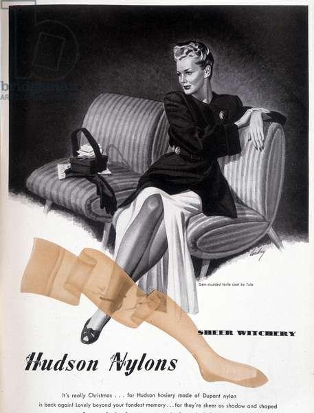 "Advertising for stockings """" Hudson Nylons"""", 20th century"