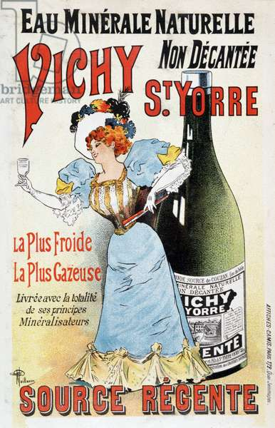 Advertising for the mineral water Vichy St Yorre - by Albert Guillaume (1873-1942), v.1895