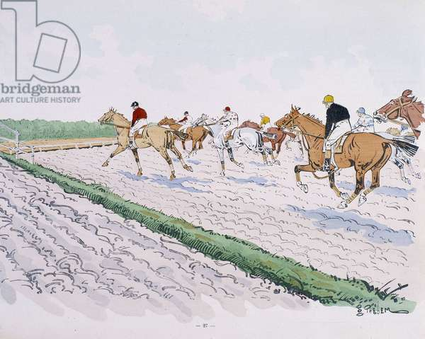 Horse racing - drawing by Thelem