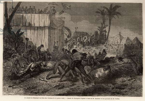 """The people fighting for the heads of prisoners of war sacrificed by the king, Abomey (in present-day Benin), drawing by Jean Antoine Foulquier (1822-1896), to illustrate Dr. Repin's journey to Dahomey in 1860. Engraving in """""""" Le tour du monde"""""""", edited by Edouard Charton, 1863. Selva's collection."""