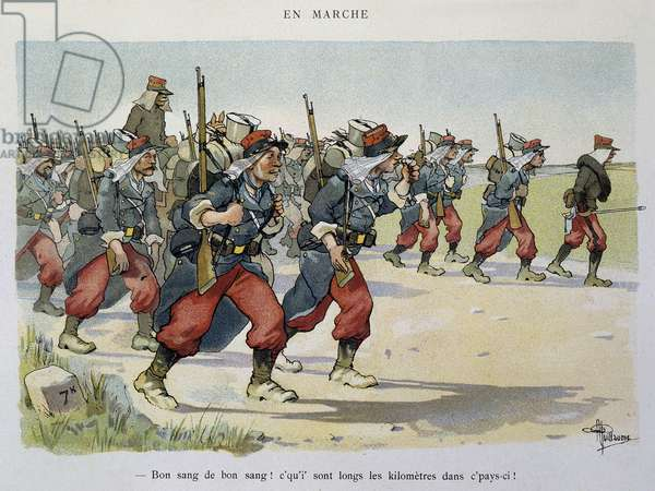 Walking - The Armee seen by Albert Guillaume (1873-1942), circa 1900
