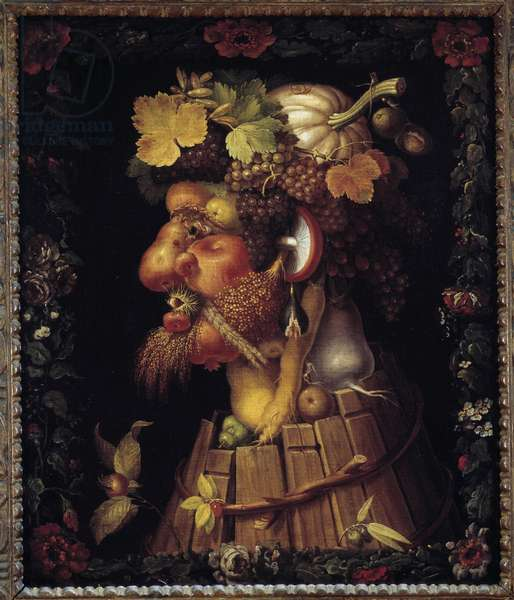 Autumn. Allegory about the Seasons. Painting by Giuseppe Arcimboldo (1527-1593). Louvre Museum