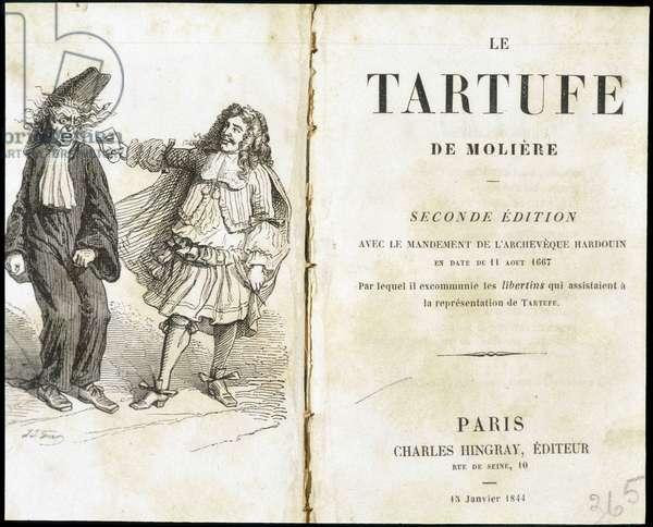 "Moliere frightening an ecclesiaste using a theatre mask - Frontispice du ""Tartuffe"""" (Tartufe) de Molière, ed. Hingray, Paris, 1844"