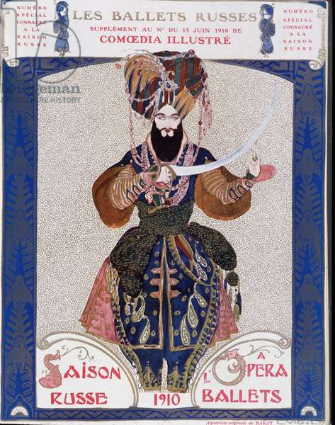 """The Russian ballets at the opera - watercolor by Bakst, in """""""" Comoedia illustrated"""""""", 1910."""