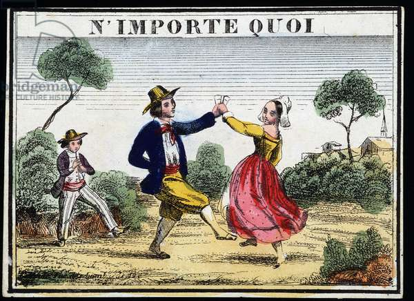 Popular dance with the sound of the pipe - engraving, 19th century