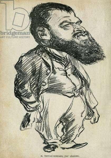 """Portrait of Bernard Paul dit Tristan-Bernard (1866-1947), French writer and comedian. Cartoon by Charles Leandre (1862-1934), in """"Tales de Pantruche et d'ailleurs"""" by Tristan Bernard, Petite Collection du """""""" Rire"""", Paris, 1897."""