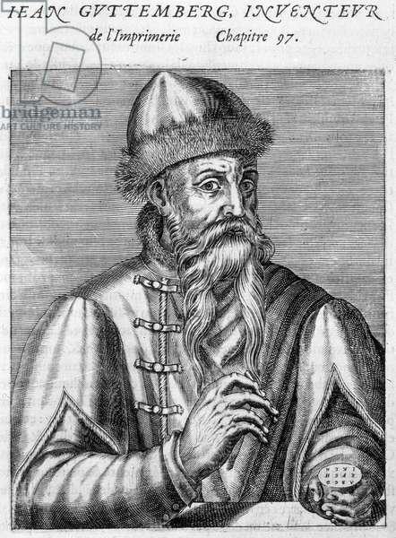 Portrait of Johannes Gutenberg (1400-1468).