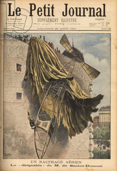 """Airsinking of Alberto Santos Dumont (1873-1932), a Brazilian aviation pioneer, designer of the first airships, while competing for the Deutsch Prize, for the round trip from Saint Cloud to the Eiffel Tower in less than 30 minutes by air, but his balloon hung the roof of a house on the Quai de Passy, the aeronaute is not wounds and undertakes to compete again within 15 days. Engraving in """""""" Le petit journal"""""""" 25/8/1901. Selva Collection."""