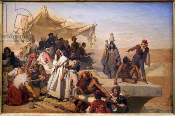 The expedition (countryside) of Egypt under the orders of Bonaparte (Napoleon, 1769-1821). Painting by Leon Cogniet (1794-1880), oil on canvas, study for the central composition of the ceiling of the Charles X Museum, circa 1829-1835, French art. Musee des Beaux Arts d'Orleans.