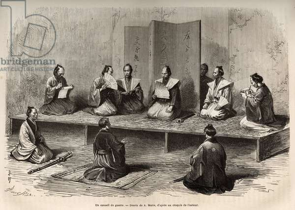 "A war council in Edo (present-day Tokyo), which brings together the officers of the taicoun (head of temporal power) to face an insurrection of the daimios (or daimyos: Japanese nobility) just before the meiji restoration (1868), engraving after A.Marie's drawing, illustrating the story of an adventure in Japan, in 1868-1869, by Eugene Collache, published in """" Le tour du monde"""" 1874, edited by Edouard Charton, Hachette edition, Paris. Selva Collection."