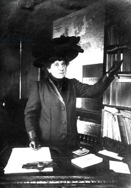 Portrait of Hubertine Auclert (1848-1914) leader of the feminist movement in the second half of the 19th century. She fought for women's right to vote. Here around 1910.